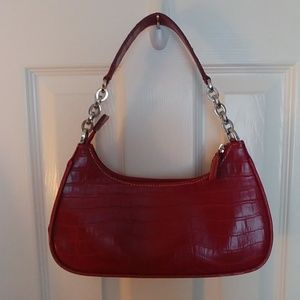Small Red Crocodile Embossed Hand Bag